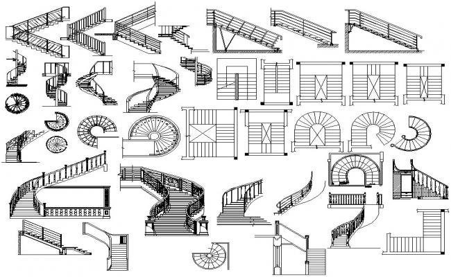 Staircase design drawing dwg file