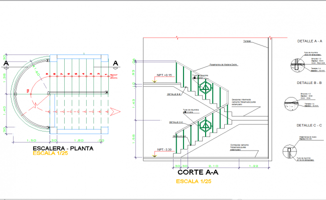 Staircase detail in autocad dwg files