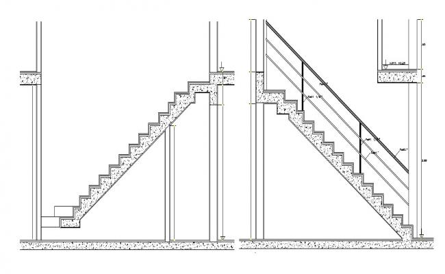 Staircase detail in dwg file