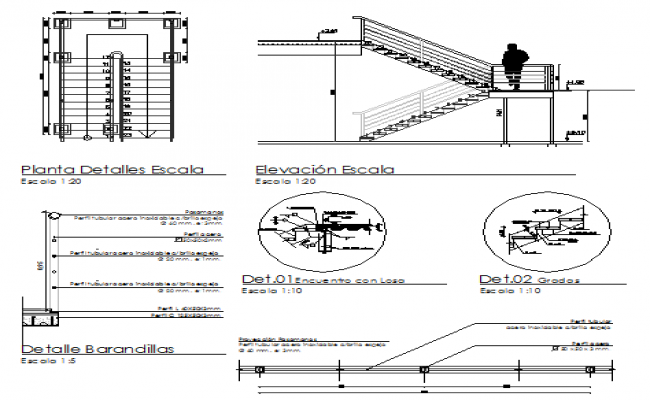 Staircase elevation and auto-cad details of shopping center dwg file