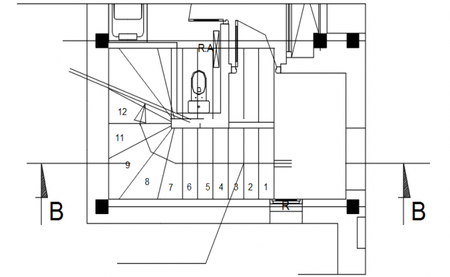 Staircase layout in dwg file