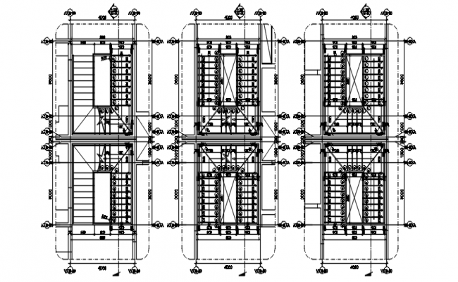Staircase layout of a residential bungalow in dwg file