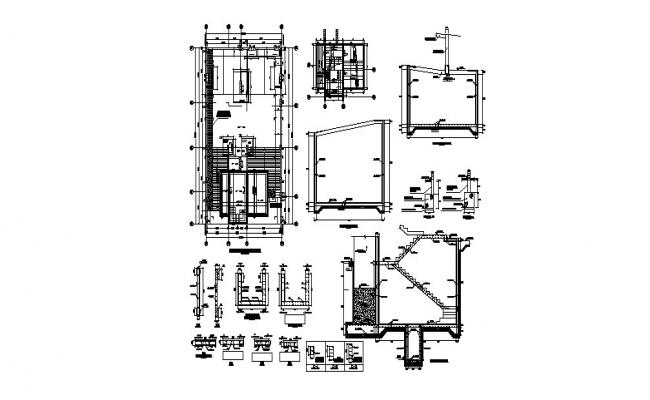 Staircase plan, section and construction cad drawing details dwg file