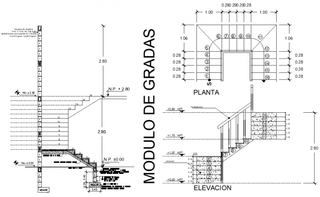 Staircase plan and section detail autocad file