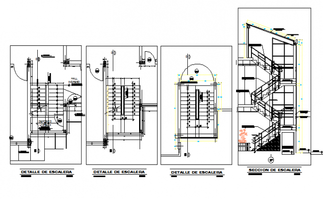 Staircase railing development sectional details dwg file