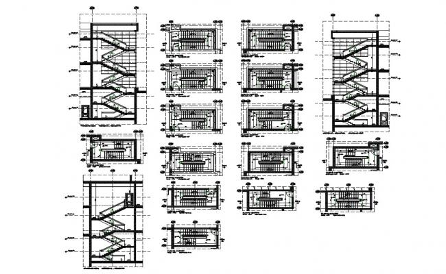 Staircase section and construction details of all floors of corporate building dwg file