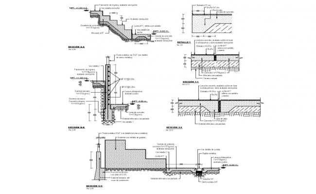 Staircase section and construction details of one family house dwg file