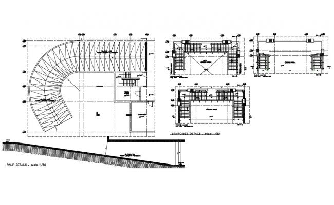 Staircase section and construction details with ramp cad