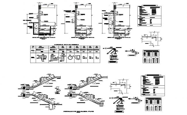 Staircase section and construction details with wall construction cad drawing details dwg file