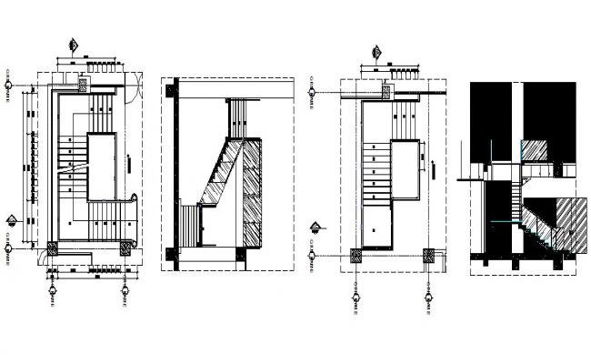 Staircase section and constructive structure details of house dwg file