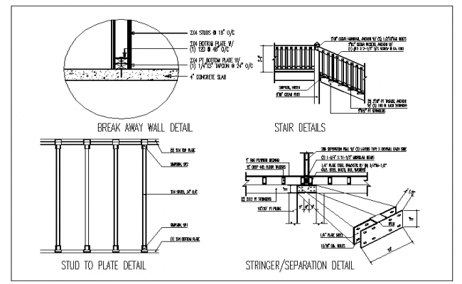 Stairs section dwg, Staircase section dwg file