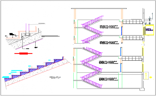 Staircase section plan detail view dwg file