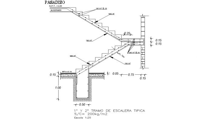 Staircase section plan dwg file