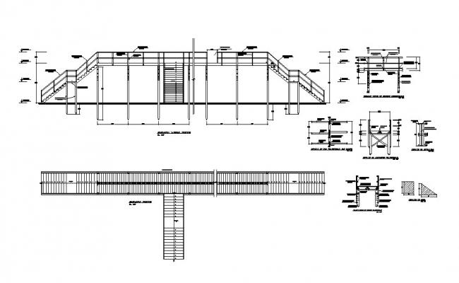 Staircases of school building elevation, section and plan and structure details dwg file