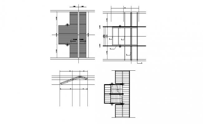 Stairs cover, section and constructive structure details dwg file
