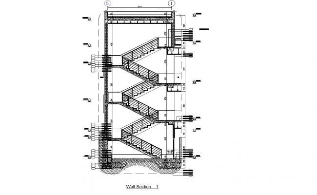 Stairwell flights of stairs plan dwg detail.,