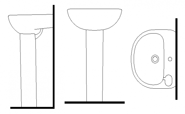 Standing wash basin and top view detail