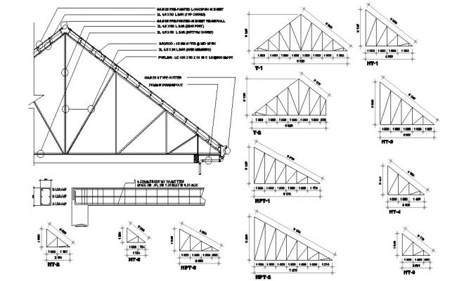 Steel Roof Truss Design AutoCAD File Download