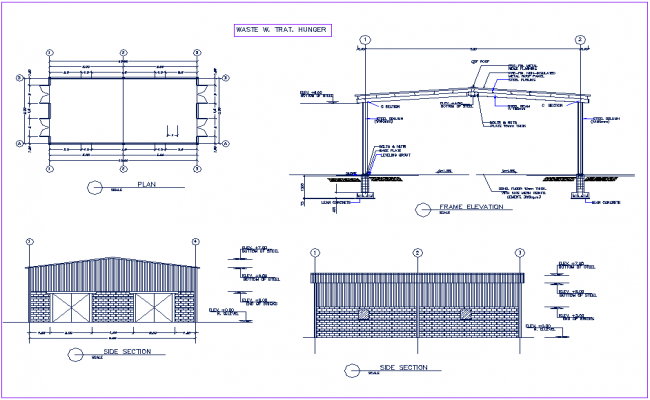 Steel column and beam view wit its foundation plan,elevation and section view for poultry processing unit dwg file