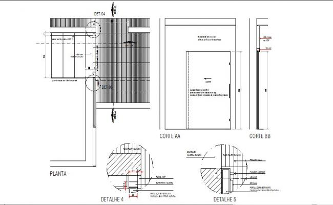 Steel door elevation and installation cad drawing details dwg file