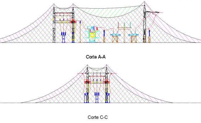 Steel framing Section hybrid electric substation design layout file