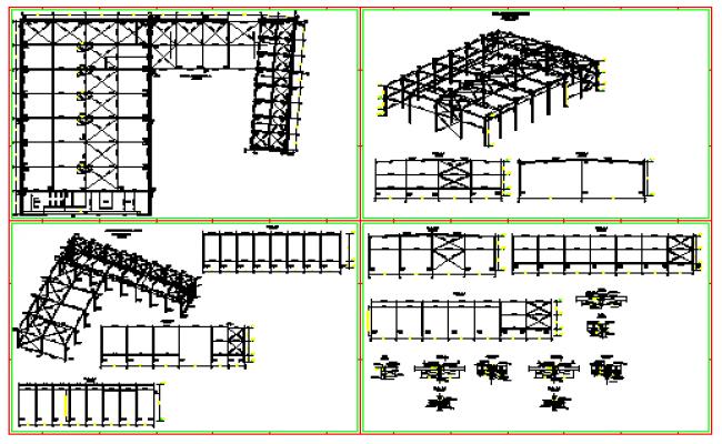 Steel industrial building design drawing