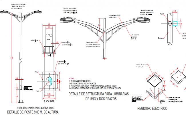 Steel lighting pole of street installation details dwg file