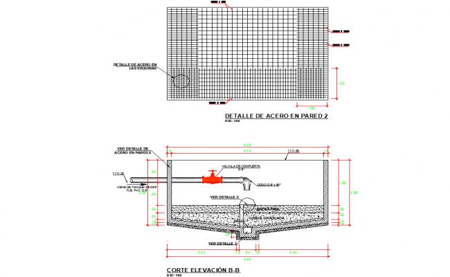 Steel on wall tank detail autocad fil