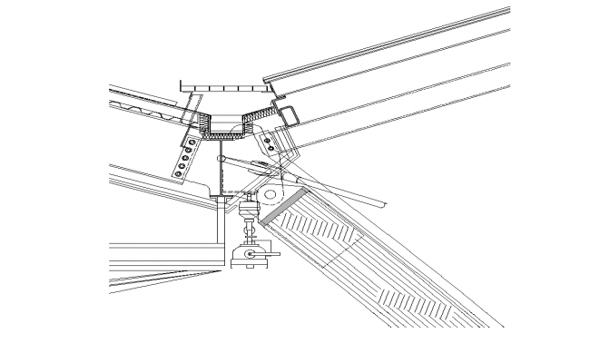 Steel roofing structure detail section 2d view layout autocad file