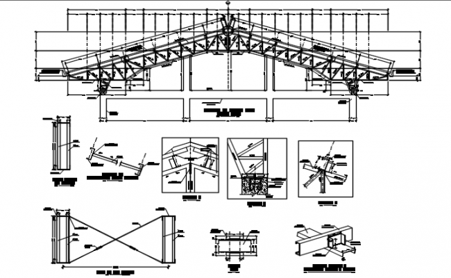 Steel structural Roof working plan detail dwg file