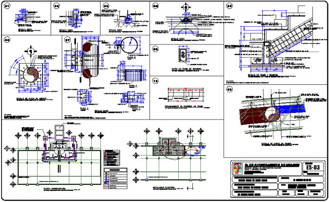 Steel structural detail of stadium with electrical and hydro sanitary detail dwg file