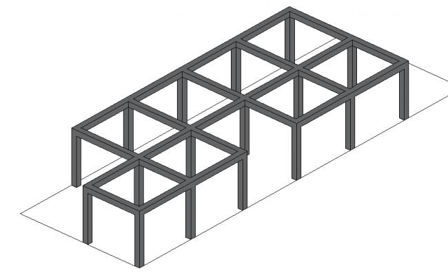 Steel structural framing 3 d plan detail dwg file