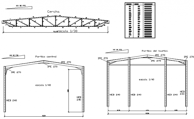 Steel structural roof detail dwg file
