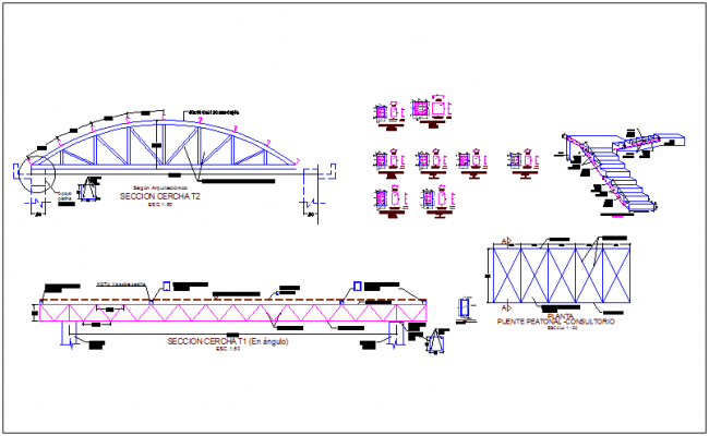 Steel structural view of truss with column detail for integral center dwg file