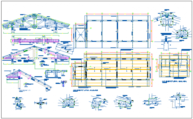 Steel structural view with detail of school design dwg file