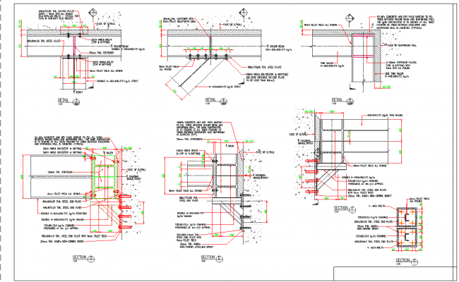 Steel structure connection view detail dwg file