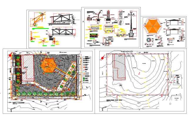 Steel structure detail view and site plan layout detail dwg file
