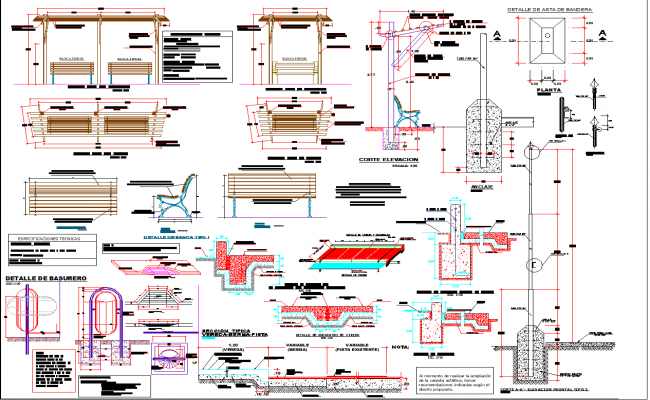 Steel structure detail view dwg file