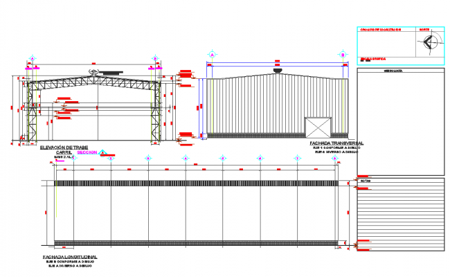 Steel structure elevation detail dwg file