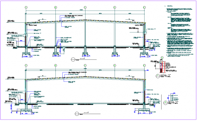 Steel structure elevation with column foundation view for poultry processing unit dwg file
