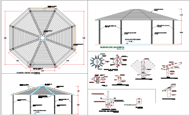 Steel structure of park plan detail dwg file