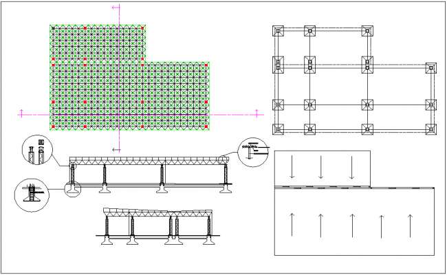 Steel structure plan elevation dwg file