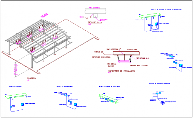 Steel structure view of education area with detail view of its connection in isomeric view dwg file