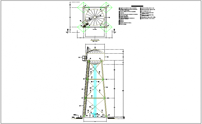 Steel structure view of elevated water tank plan and elevation with detail dwg file