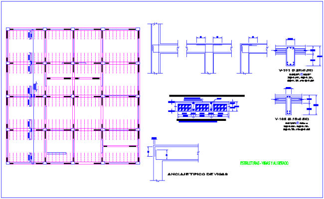 Steel structure view with detail for training center dwg file