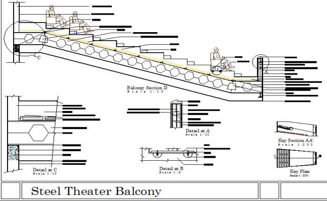 Steel theater balcony detail dwg file