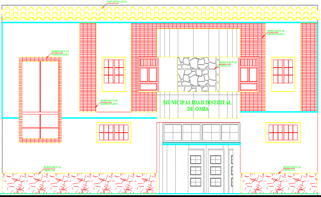 Stone carved elevation design of building in dwg file
