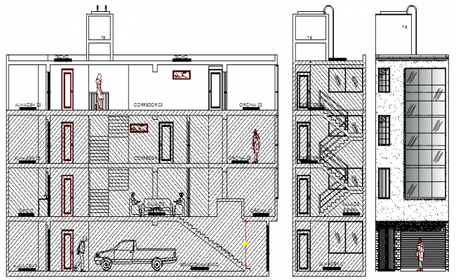 Store Building Architecture Elevation and Design dwg file