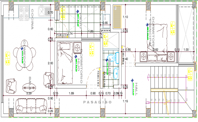 Store and Housing Structure of Residential Building dwg file