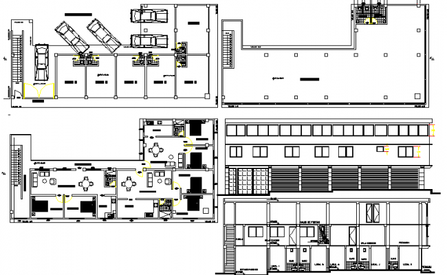 Store house elevation, section, layout plan and parking lot details dwg file